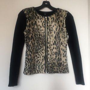 Ann Taylor black Sweater Jacket w/faux fur XXSP
